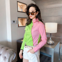 shirt Gouache with light green square collar and long sleeve shirt, rose pink with royal blue square collar and long sleeve shirt M,L,XL,2XL,3XL,4XL Spring 2021 cotton 81% (inclusive) - 90% (inclusive) Long sleeves Versatile Regular square neck Single row multi button routine 18-24 years old