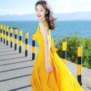 Dress Winter 2017 Yellow xz17c816 S M L XL 2XL longuette singleton  Sleeveless Sweet V-neck High waist Solid color Socket Big swing 25-29 years old Type A Xizi's beautiful mood Open back lace XZ17C816 More than 95% Chiffon polyester fiber Polyester 100% Bohemia Pure e-commerce (online only)