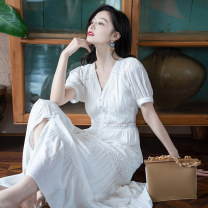 Dress Summer 2021 White short sleeve white long sleeve red long sleeve S M L XL longuette singleton  Short sleeve commute V-neck High waist Solid color Socket A-line skirt routine 18-24 years old Type A Xizi's beautiful mood Button XZ21A3004 More than 95% Chiffon other Viscose (viscose) 100%