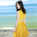 Dress Winter 2017 S M L Short skirt singleton  Sleeveless Sweet Crew neck High waist Solid color Socket Big swing routine Others 25-29 years old Type A Xizi's beautiful mood Butterfly dew back lace More than 95% Chiffon polyester fiber Polyester 100% Bohemia Pure e-commerce (online only)