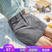 skirt Summer 2020 S M L XL Short skirt commute High waist other Solid color Type A 18-24 years old More than 95% Denim Tonlion / Tang lion cotton Simplicity Cotton 100%