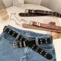 Belt / belt / chain Pu (artificial leather) Black, white, coffee, brown currency belt Versatile Single loop Youth, youth, middle age Pin buckle Double button soft surface 3.3cm alloy chain Other / other SP8146
