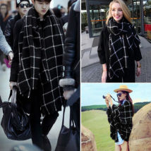 Scarf / silk scarf / Shawl Wool Black and white check Spring and autumn, summer and winter currency Scarves / scarves multi-function Britain rectangle Student lovers, young, middle-aged lattice tassels 80cm 200cm