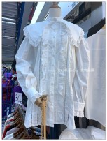 shirt white Average size Spring 2021 cotton 96% and above Long sleeves commute Medium length Doll Collar Single row multi button routine Solid color 18-24 years old Straight cylinder Korean version