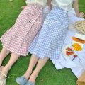 skirt Summer 2020 S, M Pink, blue Mid length dress fresh High waist High waist skirt lattice Type H 18-24 years old cotton