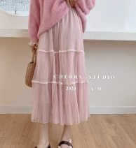 skirt Winter 2020 Average size Black, white, pink, blue, apricot longuette commute High waist Pleated skirt Solid color Type A 18-24 years old 12-14-6 Gauze Korean version