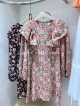 Dress Spring 2021 Black, pink Average size Short skirt singleton  Long sleeves commute Crew neck High waist Decor Socket A-line skirt routine 18-24 years old Type A Korean version 3-2-14 More than 95%