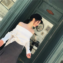 shirt white S,M,L Autumn of 2018 cotton 71% (inclusive) - 80% (inclusive) Long sleeves street Regular Solid color Europe and America