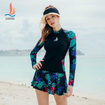 Split swimsuit Sanqi Orange 21 green 40 M L XL XXL XXXL Skirt split swimsuit With chest pad without steel support Nylon spandex polyester Winter of 2019 yes female Crew neck Long sleeves