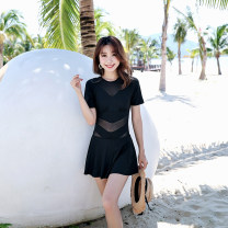 one piece  Jinhong M L XL XXL XXXL Blue black Skirt one piece With chest pad without steel support Nylon spandex Summer of 2019 yes female Short sleeve Solid color Hollowing out