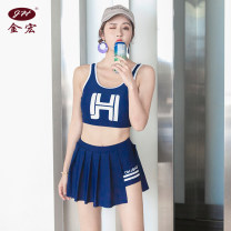 Split swimsuit Jinhong M L XL Skirt split swimsuit With chest pad without steel support Nylon spandex Summer of 2019 yes female Crew neck Sleeveless