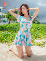 one piece  Sanqi M L XL XXL Skirt one piece Steel strap breast pad Spandex polyester Winter of 2019 yes female Short sleeve Scenery other backless