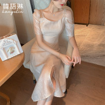 Dress Summer 2021 Misty gold S M L Mid length dress singleton  Short sleeve commute square neck High waist Solid color zipper other other Others 25-29 years old Type X Korean Lin space Korean version More than 95% other other Other 100% Pure e-commerce (online only)