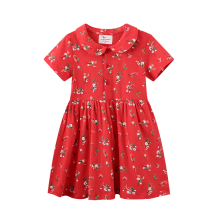 Dress Red flowers female jumping meters 2T/80,3T/90,4T/100,5T/110,6T/120,7T/130 Cotton 100% summer Europe and America Skirt / vest Cartoon animation cotton A-line skirt Class A