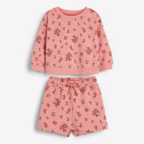 suit Little Maven Pink flowers 7T/130,6T/120,5T/110,4T/100,3T/90,2T/80 female spring and autumn Europe and America Long sleeve + pants 2 pieces Thin money No model Socket nothing Cartoon animation cotton children Expression of love Class A Cotton 95% other 5%