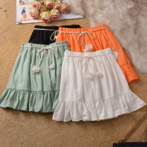 skirt Summer of 2019 Average size Short skirt fresh High waist Fluffy skirt Solid color Type A 18-24 years old 51% (inclusive) - 70% (inclusive) other other Bowknot, stitching
