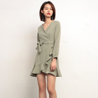 Dress Autumn of 2019 Black, yellow, light bean green S,M,L Middle-skirt Long sleeves commute V-neck High waist Solid color zipper Ruffle Skirt puff sleeve 25-29 years old Type H Retro Lace, lace