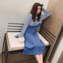 Dress Autumn 2020 Black suit, blue suit S,M,L,XL Mid length dress Two piece set Long sleeves commute Crew neck High waist stripe Socket A-line skirt routine Others 18-24 years old Type A Korean version 71% (inclusive) - 80% (inclusive) other