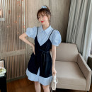 Dress Summer 2020 Blue, white S,M,L,XL,2XL Mid length dress singleton  Short sleeve commute Polo collar middle-waisted Solid color Single breasted A-line skirt shirt sleeve 18-24 years old Type A Korean version 71% (inclusive) - 80% (inclusive) other other