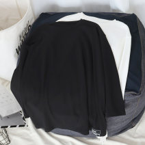 T-shirt White, black Average size Spring 2021 Long sleeves Crew neck easy Regular routine commute cotton 51% (inclusive) - 70% (inclusive) 18-24 years old Korean version youth Solid color printing