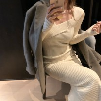 Dress Autumn 2020 Coffee, cream, black S,M,L longuette singleton  Long sleeves commute other Solid color Socket Irregular skirt routine Type H Retro 81% (inclusive) - 90% (inclusive) knitting other
