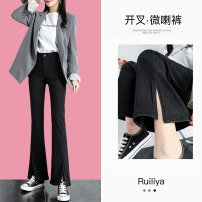 Jeans Spring 2021 Black Pants Black nine black floor blue pants blue nine blue floor ash pants deliver first S M L XL XXL trousers High waist Flared trousers routine Make old nail beads, wash and whiten zipper button Cotton elastic denim Dark color A20G50211309 Ruilia Pure e-commerce (online only)