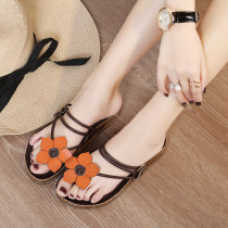 slipper 35 36 37 38 39 40 Other / other Off white dark brown Flat bottom Flat heel (1cm or less) top layer leather Spring 2017 flip flops rubber sandy beach Korean version Adhesive shoes Youth (18-40 years old) middle age (40-60 years old) Plants and flowers Flower ribbon combination Microfiber skin