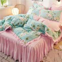 Bedding Set / four piece set / multi piece set cotton other Plants and flowers 133X76 Other / other cotton 4 pieces 40 Bed sheet, bed skirt Qualified products Korean style 100% cotton twill Reactive Print  Thermal storage