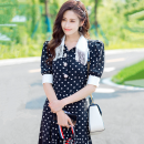 Dress Summer 2021 Picture color, picture color long style S,M,L,XL,2XL longuette singleton  Short sleeve commute Polo collar High waist lattice A-line skirt routine Others Type A Korean version Tassel, lace, bandage polyester fiber