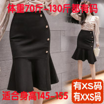 skirt Spring 2021 Xs, s, m, l, XL, 2XL, XXS genuine small 145-155 black Mid length dress Versatile Natural waist skirt Solid color Type X 18-24 years old More than 95% other Zhenyaluo other Lotus leaf edge