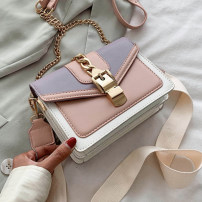 Bag The single shoulder bag PU Small square bag KISS ME brand new European and American fashion in leisure time soft Buckle no Solid color Single root One shoulder cross Yes youth Horizontal square Color contrast Soft handle polyester fiber Zipper pocket ID bag soft surface Inner patch pocket