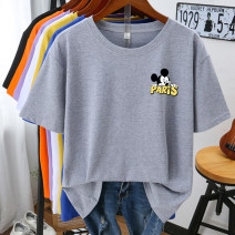 T-shirt white , black , violet , blue , yellow , grey , Orange M,L,XL,2XL,3XL,4XL Summer 2021 Short sleeve Crew neck easy Regular routine commute cotton 96% and above 18-24 years old Korean version originality Cartoon, animation, letters printing