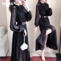 Dress Autumn 2020 Black ds2152 S M L XL longuette singleton  Long sleeves commute Crew neck High waist Solid color Socket A-line skirt routine 25-29 years old Type A Disha clothing Nail bead DS9153@ More than 95% Chiffon polyester fiber Polyester 100%