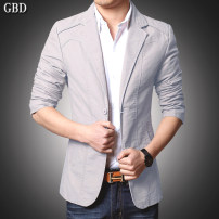 man 's suit Guy burting Youth fashion routine S M L XL 2XL 3XL 4XL 5XL Cotton 100% Autumn of 2018 Self cultivation Double breasted Other leisure No slits youth Long sleeves autumn routine tide Casual clothes Regular collar (collar width 7-9cm) Round hem Solid color Regular collar (collar width 7-9cm)