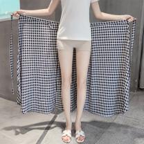 skirt Summer of 2019 Average size longuette Versatile High waist A-line skirt Decor Type A
