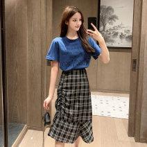 skirt Summer 2020 S,M,L,XL 3379 # blue T-shirt, 3380 # plaid skirt, 3379 # blue T-shirt + 3380 # plaid skirt Mid length dress commute High waist A-line skirt lattice Type A 18-24 years old Pleats, zippers Korean version