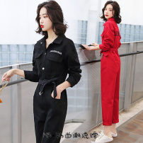 Casual pants Red, black S,M,L,XL Spring 2020 trousers Jumpsuit High waist commute routine 18-24 years old 91% (inclusive) - 95% (inclusive) YINXX8308 Other / other Chloroprene Korean version cotton