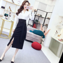 Dress Spring 2021 S,M,L,XL Middle-skirt Two piece set Long sleeves commute V-neck High waist Solid color Socket Princess Dress shirt sleeve Others Type A Other / other Korean version 81% (inclusive) - 90% (inclusive) other polyester fiber