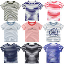 T-shirt Other / other 90cm,100cm,110cm,120cm,130cm,140cm neutral summer Short sleeve Crew neck leisure time No model nothing cotton stripe Cotton 100% Class A Sweat absorption 12 months, 18 months, 2 years old, 3 years old, 4 years old, 5 years old, 6 years old, 7 years old, 8 years old