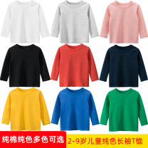 T-shirt 27KIDS 90cm,100cm,110cm,120cm,130cm,140cm neutral spring and autumn Long sleeves Crew neck Korean version No model nothing cotton Solid color Cotton 100% Class A Sweat absorption 18 months, 2 years old, 3 years old, 4 years old, 5 years old, 6 years old, 7 years old, 8 years old, 9 years old