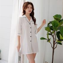 Pajamas / housewear set female miss XL,L,M Iced silk three quarter sleeve Simplicity pajamas spring Thin money V-neck Solid color Cropped Trousers youth other