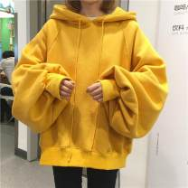 Sweater / sweater Fall 2017 Black, yellow, red XL,2XL,3XL,L,M Long sleeves routine Socket singleton  routine Hood easy street bishop sleeve Solid color 71% (inclusive) - 80% (inclusive)
