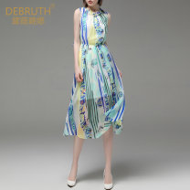Dress Summer of 2019 S/36 M/38 L/40 XL/42 XXL/44 Mid length dress Two piece set Sleeveless commute other High waist Abstract pattern Socket Big swing routine Others 30-34 years old Type X Dai Weilu Ol style More than 95% Chiffon polyester fiber Polyester 100%