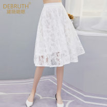 skirt Spring of 2018 S/36 M/38 L/40 XL/42 XXL/44 White black Middle-skirt commute Natural waist Umbrella skirt Solid color Type A 30-34 years old B-171071-B More than 95% Lace Dai Weilu polyester fiber Thread zipper stitching lace lady Polyester 100%