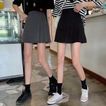 skirt Summer 2021 XXS,XS,S,M,L Gray, black Short skirt Versatile High waist Pleated skirt Solid color Type A 18-24 years old