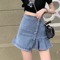 skirt Summer 2021 XXS,XS,S,M,L Wash blue Short skirt High waist Pleated skirt Solid color Type A 18-24 years old fold
