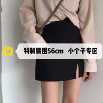 skirt Summer 2021 XXS,XS,S,M,L black Short skirt commute High waist A-line skirt Solid color Type A 18-24 years old Korean version