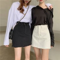 skirt Summer 2021 XXS,XS,S,M,L White, black Short skirt High waist A-line skirt Solid color Type A 18-24 years old 30% and below Denim