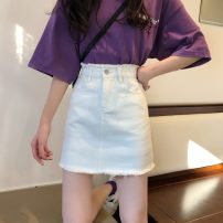 skirt Summer 2021 XXS,XS,S,M,L White, blue, black Short skirt Versatile High waist Denim skirt Solid color Type A 18-24 years old 91% (inclusive) - 95% (inclusive) Denim