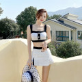 Split swimsuit other White, black M,L,XL Skirt split swimsuit Steel strap breast pad polyester fiber female V-neck